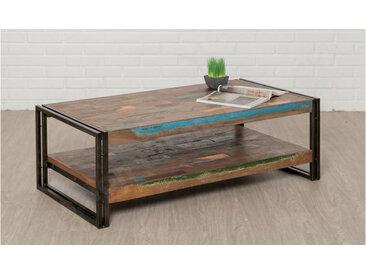 Table basse double plateau en teck recycle, rectangulaire, Gamme Atelier