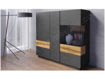Vaisselier en bois, 2 portes, 1 porte vitrée, 6 étagères, Gamme florence Noir