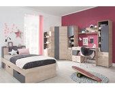 Lit ado en bois blanc et gris, 2 tiroirs, Gamme faro 120x200