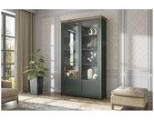 Vaisselier et vitrine haut, 2 portes 8 niches, couleur vert et chêne, Gamme Evovert