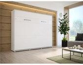 Lit escamotable horizontal 140x200 blanc , Gamme concept Blanc mat et blanc brillant