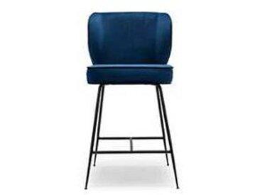 Tabouret de bar design - Chaise de bar - Chaise haute - velours bleu et métal noir - Wayne - H65 cm