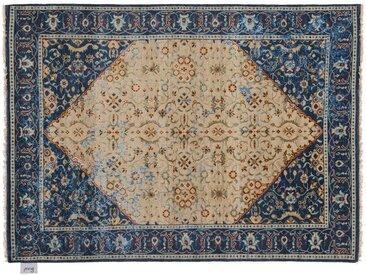 Rajendra - noué main:  Tapis persan traditionnel, materiaux de laine et de soie, fait a la main
