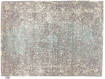 Buniad - tufté main:  Tapis oriental moderne en soie, couleurs grises, jaunes et vert clair