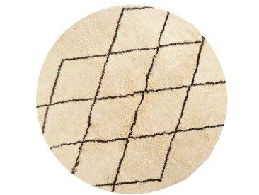 Aicha - Rond: Custom Size tapis berbères ronds, laine de mouton blanc, motif de diamant, dernière tendance, noué à la main, chambre à coucher