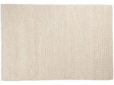 Kalim: 100cm x 140cm moquette en laine blanche, laine naturelle douce, hygge, tapis en laine épaisse