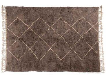 Aicha -Gris: 170cm x 240cm tapis berbère marocain, gris, motif losange, Beni Ouarain