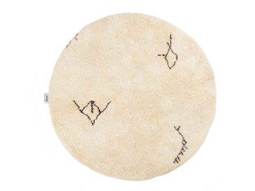 Malika - Rond: 90cm tapis marocain Beni Ouarain, tapis ronds, motif tribal et symboles, laine