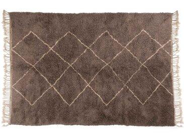 tapis berbère marocain, gris, motif losange, Beni Ouarain-