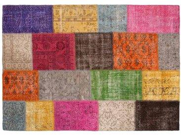 Yagmur: Custom Size Tapis Patchwork Vintage, Tapis Multicolore Turc, Fait Main