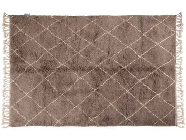 Khadija - Gris: 150cm x 200cm moquette marocaine, style berbère, noué à la main gris, tapis en laine, motif losange