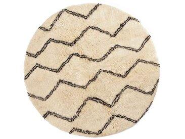 Naima - Rond: 150cm tapis berbère rond, marocain, tapis de laine blanche, motif de ligne