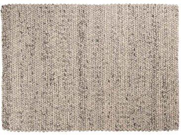 Kayum: 170cm x 240cm tapis de laine gris ivoire, tapis tressés faits à la main, laine épaisse indienne