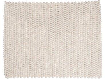 Shirisha - rectangulaire: 170cm x 240cm Pur Design Scandinave Blanc Tapis de Boules de Laine Fait Main