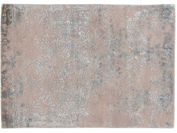 Abdul - tufté main:  Tapis persan, laine touffetee a la main et soie de bambou, gris clair avec bleu