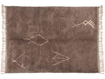 Malika – Gris: 200cm x 300cm tapis berbères marocains, symboles tribaux, faits à la main au Maroc, laine à poils longs, Beni Ouarain