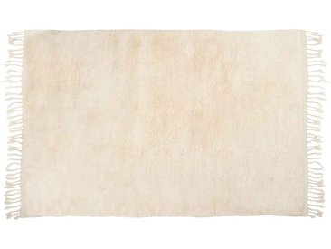 Amina: 200cm x 300cm tapis berbère en laine blanche, Beni Ouarain, grands tapis en velours, en ligne