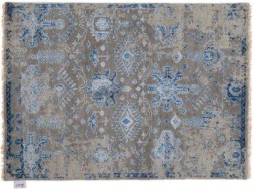 Vasudev - noué main:  Gris, Tapis persans en laine bleue, noues a la main en Inde