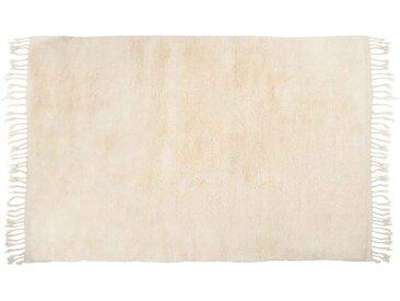 Amina: 170cm x 240cm tapis berbère en laine blanche, Beni Ouarain, grands tapis en velours, en ligne