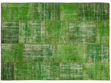 Ecrin: 100cm x 140cm Vert Vintage Patchwork tapis faits main à partir de vieux tapis persans