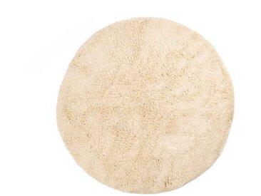 Amina - Ronde: 120cm moquette ronde marocaine, blanche, laine naturelle, empilée, commerce équitable, Beni Ouarain