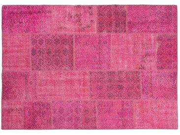 Meryem: 15cm x 20cm Rose Fuchsia Overdyed Tapis Vintage main en Turquie Outlet Store