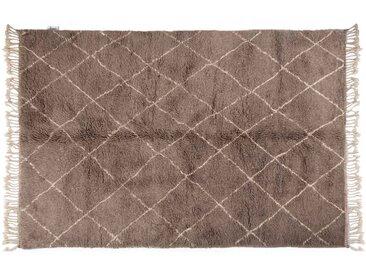 Khadija - Gris: 200cm x 300cm moquette marocaine, style berbère, noué à la main gris, tapis en laine, motif losange