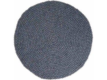 Swornima - rond: 140cm Design scandinave laine gris Tapis de Boules,favori des Architectes d'Intérieur