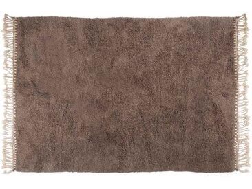 Amina - Gris: 250cm x 300cm Beni Ouarain tapis berbère, couleur grise, sans motif, pure laine, noué à la main