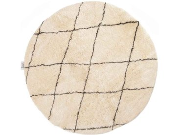 Beni Ouarain, tapis rond, motif losange, tapis en laine de mouton, blanc-