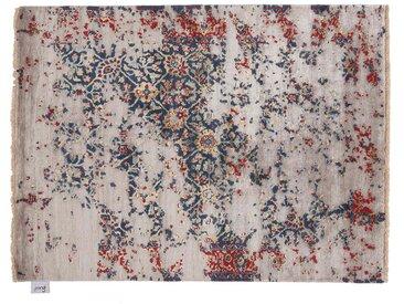 Rahit - noué main:  Tapis oriental en soie rouge blanc bleu, noue a la main