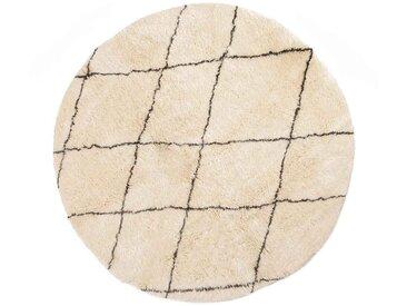 Khadija - Rond: 20cm Beni Ouarain, tapis rond, motif losange, tapis en laine de mouton, blanc