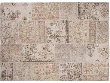 Ela: 120cm x 170cm Vintage blanc cassé tapis Patchwork Conception main en Turquie Recolored
