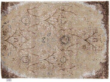 Rippo - tufté main:  Tapis persan blanc Beige, touffete a la main a partir de soie de bambou, commerce equitable