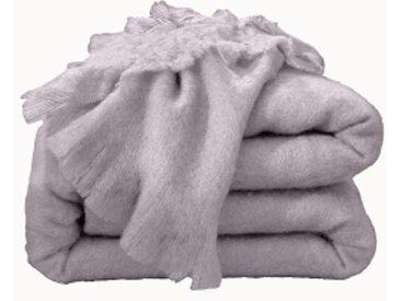 Couverture 2 pers : 220x240 cmparme grisé  Couverture laine mohair Angora