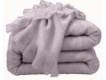 Couverture 1 pers : 130x180 cmtaupe  Couverture laine mohair Angora