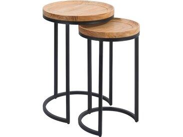 Table d'appoint en bois d'acacia et métal (lot de 2) - Yaca