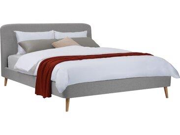 Ensemble sommier 26 lattes, tête de lit, cadre de lit en tissu gris 160x200 cm - Sioux