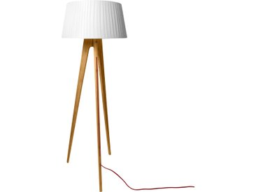 Lampadaire trépied en bois de bamboo clair et abat-jour en tissu plissé blanc - Freya