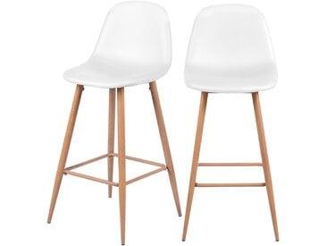Chaise de bar scandinave blanche en cuir synthétique 73 cm (lot de 2) - Rodrik
