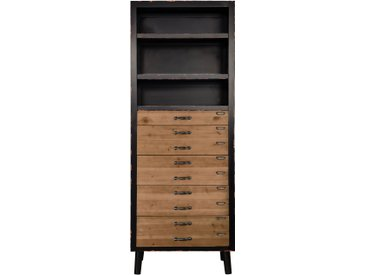 Bibliothèque industrielle avec 5 tiroirs et 3 étagères en bois et métal - Lohja