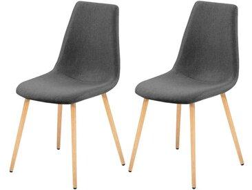 Chaise scandinave en tissu gris (lot de 2) - Aleksi