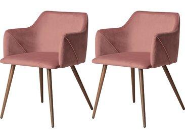 Chaise avec accoudoirs en velours rose (lot de 2) - Daisy