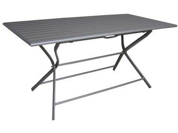 Table de jardin rectangulaire pliante en aluminium grise 6 personnes - Globe