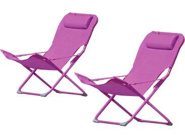 Chaise longue camping rose en métal et tissu avec appui-tête (lot de 2) - Java
