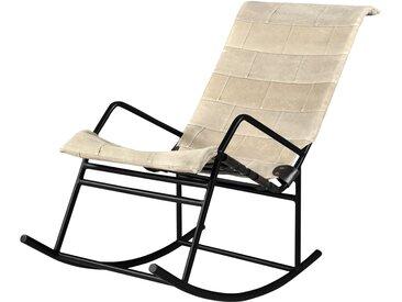 Rocking Chair industriel en toile beige - Ralf