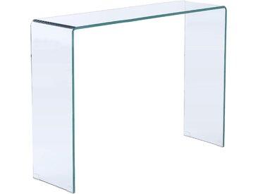Console en verre trempé transparent 110cm - Diego