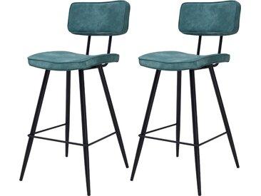 Chaise de bar vintage bleue en cuir synthétique et structure en métal 65 cm (lot de 2) - Texas