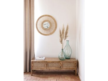 Miroir rond en rotin naturel - Kate