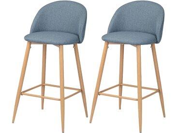 Chaise de bar scandinave en tissu bleu/gris et pieds en métal imitation bois 72.5 cm (lot de 2) - Cozy